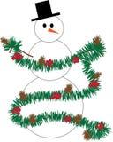 Χιονάνθρωπος που διακοσμεί με τη γιρλάντα στοκ φωτογραφία με δικαίωμα ελεύθερης χρήσης