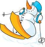 Χιονάνθρωπος που κάνει σκι στο χιόνι - αστείο διάνυσμα απεικόνιση αποθεμάτων