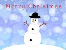 Χιονάνθρωπος σε μια κάρτα Χαρούμενα Χριστούγεννας Στοκ Φωτογραφία