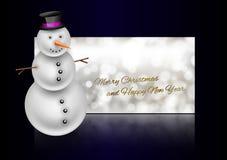 Χιονάνθρωπος στη ευχετήρια κάρτα Χριστουγέννων Περίληψη bokeh backgroun Στοκ Εικόνα