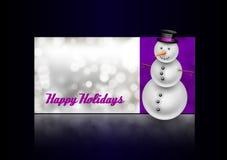 Χιονάνθρωπος στη ευχετήρια κάρτα Χριστουγέννων Περίληψη bokeh backgroun Στοκ εικόνα με δικαίωμα ελεύθερης χρήσης