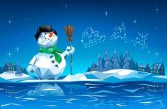 Χιονάνθρωπος στη νύχτα Χριστουγέννων με τον αστερισμό μακρινό ι ελκήθρων Santa Στοκ Φωτογραφία