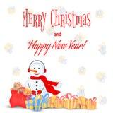 Χιονάνθρωπος στο μαντίλι, τις μπότες, τα γάντια και τα ακουστικά κάρτα για το νέο έτος, Χριστούγεννα Απομονωμένα αντικείμενα στο  απεικόνιση αποθεμάτων