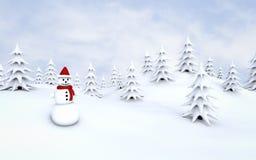 Χιονάνθρωπος, χειμερινό δάσος Στοκ Φωτογραφίες
