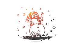 Χιονάνθρωπος, χειμώνας, κρύο, Δεκέμβριος, έννοια πάγου Συρμένο χέρι απομονωμένο διάνυσμα διανυσματική απεικόνιση