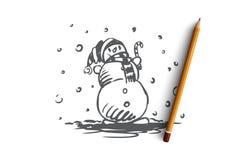 Χιονάνθρωπος, χειμώνας, κρύο, Δεκέμβριος, έννοια πάγου Συρμένο χέρι απομονωμένο διάνυσμα απεικόνιση αποθεμάτων
