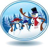 χιονάνθρωπος χιονιού σφαιρών Χριστουγέννων Στοκ Φωτογραφίες