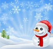 Χιονάνθρωπος Χριστουγέννων στη χιονώδη σκηνή Στοκ Εικόνες