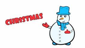 Χιονάνθρωπος Χριστουγέννων στο λευκό διανυσματική απεικόνιση