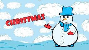 Χιονάνθρωπος Χριστουγέννων στο μπλε ουρανό διανυσματική απεικόνιση