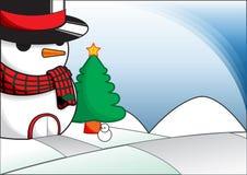 Χιονάνθρωπος Χριστουγέννων Στοκ Εικόνες