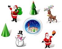 χιονάνθρωπος santa ελαφιών Χρ&io απεικόνιση αποθεμάτων