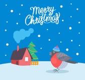 Χιονίζοντας καιρικό διάνυσμα Bullfinch Χαρούμενα Χριστούγεννας ελεύθερη απεικόνιση δικαιώματος