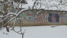 Χιονίζοντας τοίχος γκράφιτι απόθεμα βίντεο