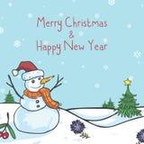 Χιονανθρώπων Χριστουγέννων διανυσματική απεικόνιση κινούμενων σχεδίων ευχετήριων καρτών χαριτωμένη Στοκ Φωτογραφία