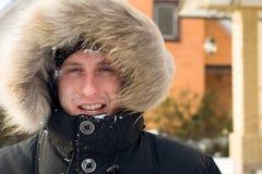 χιονιά ατόμων σακακιών πάλη&sig Στοκ Εικόνες