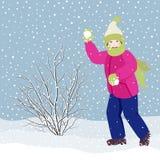 Χιονιές παιχνιδιού κοριτσιών Στοκ φωτογραφίες με δικαίωμα ελεύθερης χρήσης