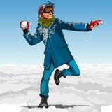 Χιονιές παιχνιδιού τύπων κινούμενων σχεδίων hipster το χειμώνα απεικόνιση αποθεμάτων