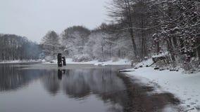 Χιονισμένα άσπρα δέντρα που απεικονίζονται στον ποταμό φιλμ μικρού μήκους