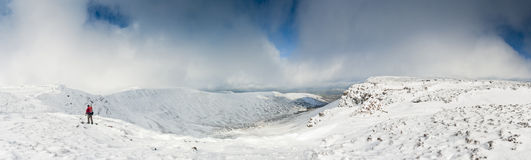 Χιονισμένα βουνά, αναγνωριστικά σήματα Brecon, Ουαλία, UK Στοκ Φωτογραφία