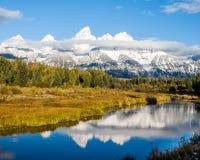 Χιονισμένα βουνά Teton στο εθνικό πάρκο στοκ φωτογραφίες