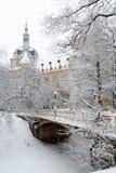 Χιονισμένες μέγαρο και γέφυρα στο χειμερινό πάρκο Στοκ Εικόνα