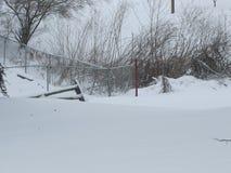 Χιονισμένες ναυπηγείο και αλέα Στοκ Εικόνα
