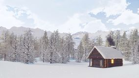 Χιονισμένη καλύβα βουνών στη χειμερινή ημέρα χιονοπτώσεων απόθεμα βίντεο