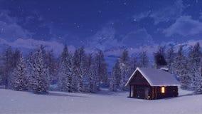Χιονισμένη καλύβα βουνών στη χειμερινή νύχτα χιονοπτώσεων ελεύθερη απεικόνιση δικαιώματος