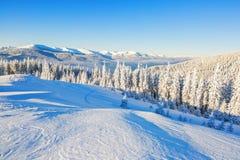 Χιονισμένοι λόφος και αιχμή στοκ εικόνες