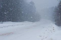 Χιονισμένος δρόμος κατά τη διάρκεια μιας ισχυρής χιονόπτωσης στοκ εικόνα