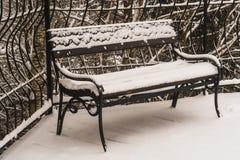 Χιονισμένος πάγκος χάλυβα Στοκ Εικόνες