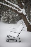 Χιονισμένος πάγκος στοκ εικόνες