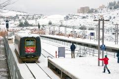 Χιονισμένος σταθμός τρένου στην Ιερουσαλήμ στοκ εικόνα