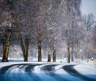 Χιονισμένος curvy δρόμος Partialy Στοκ Φωτογραφίες