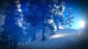 Χιονισμένο δάσος Christmac στην τρισδιάστατη απόδοση βουνών Στοκ Φωτογραφία