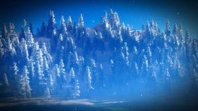 Χιονισμένο δάσος Christmac στην τρισδιάστατη απόδοση βουνών Στοκ εικόνα με δικαίωμα ελεύθερης χρήσης