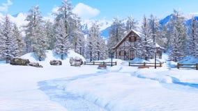 Χιονισμένο αλπικό σπίτι βουνών στη χειμερινή ημέρα ελεύθερη απεικόνιση δικαιώματος
