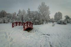 Χιονισμένο πάρκο πόλεων ένα μονοπάτι και μια ξύλινη γέφυρα κάτω από το χιόνι μια νεφελώδη ημέρα Στοκ φωτογραφία με δικαίωμα ελεύθερης χρήσης