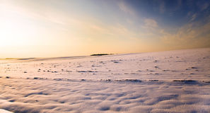 Χιονισμένο πεδίο. ένα ηλιοβασίλεμα Στοκ φωτογραφίες με δικαίωμα ελεύθερης χρήσης