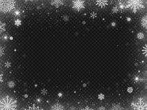 Χιονισμένο πλαίσιο συνόρων Χιόνι διακοπών Χριστουγέννων, σαφή snowflakes χιονοθύελλας παγετού και ασημένια snowflake διανυσματική απεικόνιση αποθεμάτων