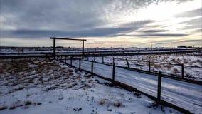 Χιονισμένο τηγάνι χρονικού σφάλματος τοπίων χώρας απόθεμα βίντεο