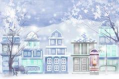 Χιονισμένο χειμερινό τοπίο στην πόλη - γραφική σύσταση ζωγραφικής απεικόνιση αποθεμάτων