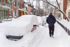 Χιονοθύελλα του Μόντρεαλ τον Ιανουάριο του 2018 Στοκ Φωτογραφίες