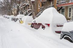 Χιονοθύελλα του Μόντρεαλ τον Ιανουάριο του 2018 Στοκ Εικόνες