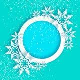 χιονοπτώσεις Κάρτα χαιρετισμών καλής χρονιάς Origami Χριστούγεννα εύθυμα Η Λευκή Βίβλος έκοψε τη νιφάδα χιονιού Χειμερινά snowfla διανυσματική απεικόνιση