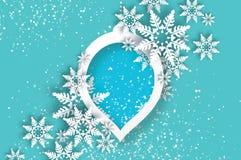 χιονοπτώσεις Κάρτα χαιρετισμών καλής χρονιάς Origami Χριστούγεννα εύθυμα ελεύθερη απεικόνιση δικαιώματος