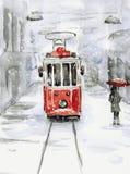 Χιονοπτώσεις και παλαιό τραμ Στοκ Εικόνες