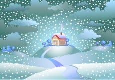 Χιονοπτώσεις πέρα από το μικρό σπίτι Στοκ φωτογραφίες με δικαίωμα ελεύθερης χρήσης