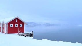 Χιονοπτώσεις πέρα από το Malangsfjorden στη βόρεια Νορβηγία φιλμ μικρού μήκους